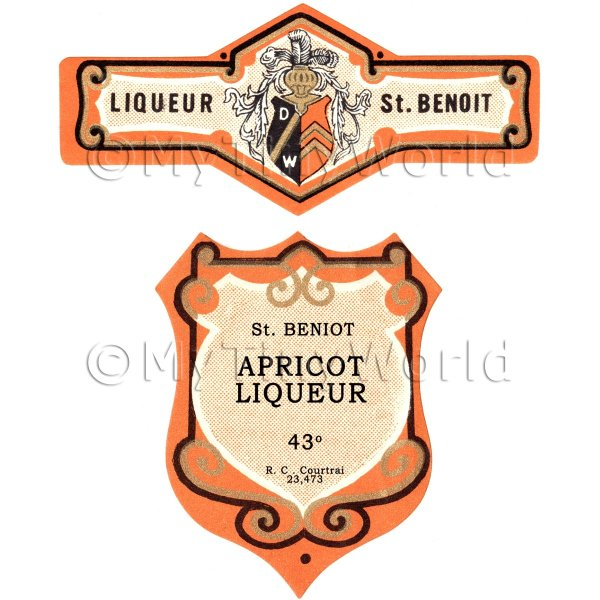 Matched Benoit Apricot Liqueur Miniature Dolls House Liqueur Labels