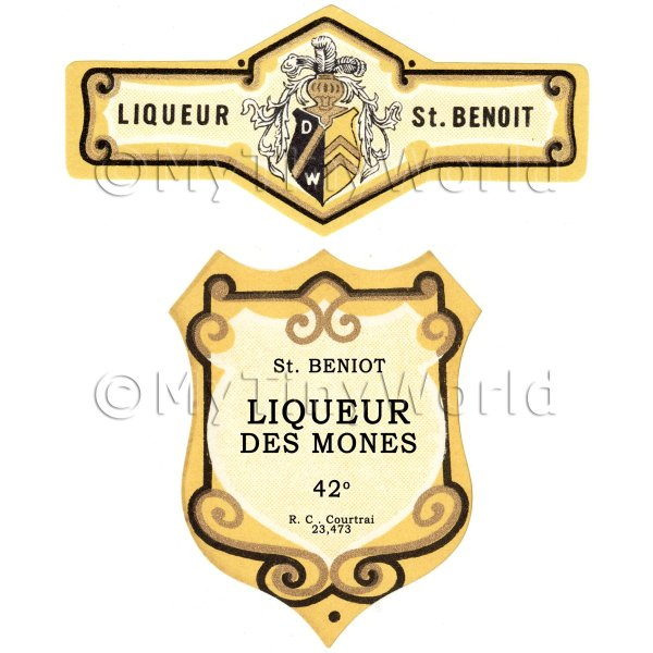 Matched Benoit Liqueur Des Mones Miniature Dolls House Liqueur Labels