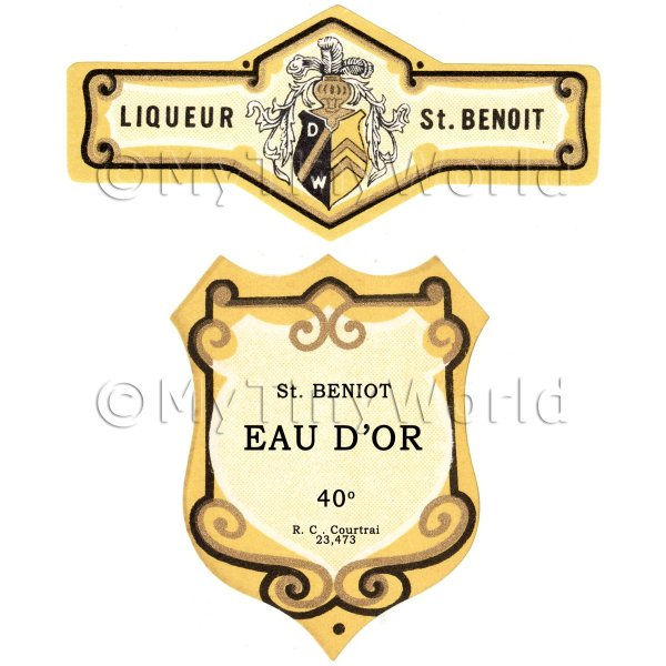 Matched Benoit Eau Dor Miniature Dolls House Liqueur Labels