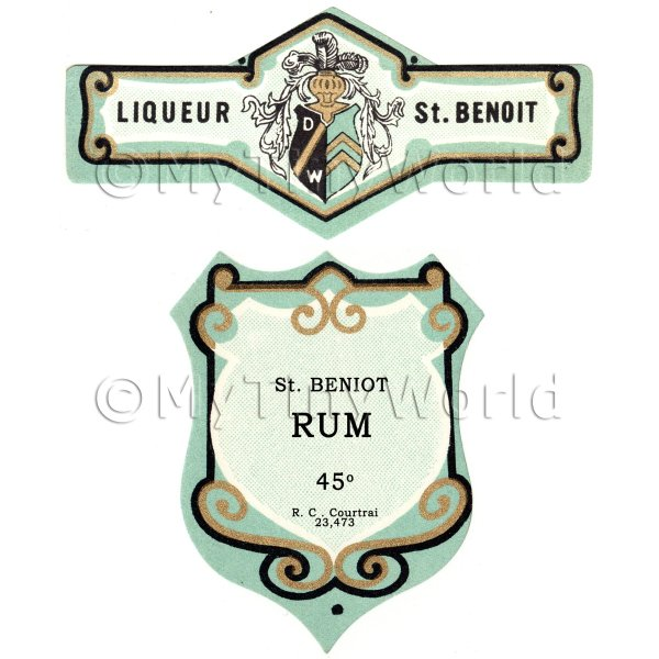 Matched Benoit Rum Miniature Dolls House Liqueur Labels