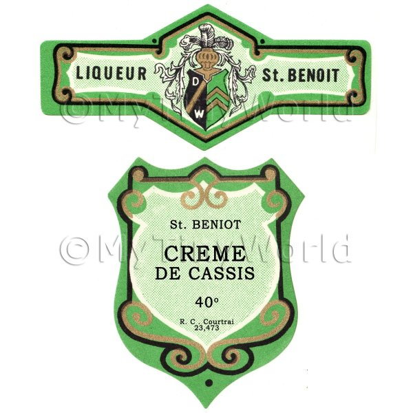 Dolls House Miniature  | Matched Benoit Creme De Cassis Miniature Dolls House Liqueur Labels