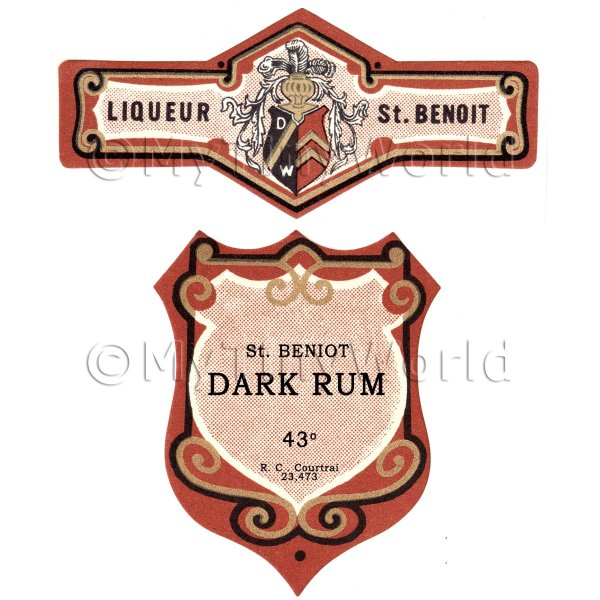 Matched Benoit Dark Rum Miniature Dolls House Liqueur Labels