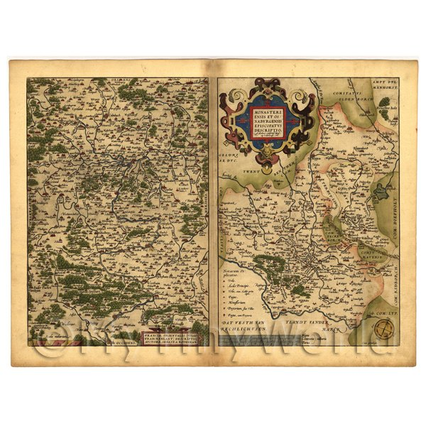 1/12 Scale Dolls House Miniatures  | Dolls House Miniature Old Map Of East Francia From The Late 1500s