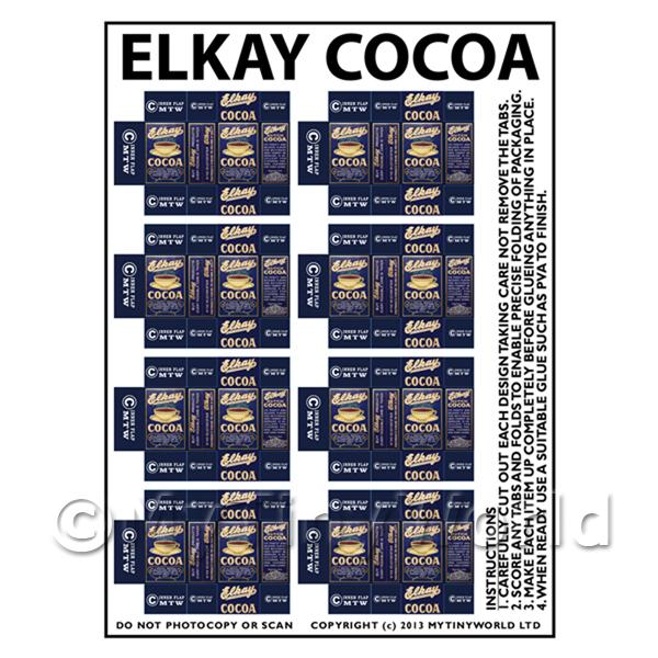 Dolls House Miniature Packaging Sheet of 8 Elkay Cocoa