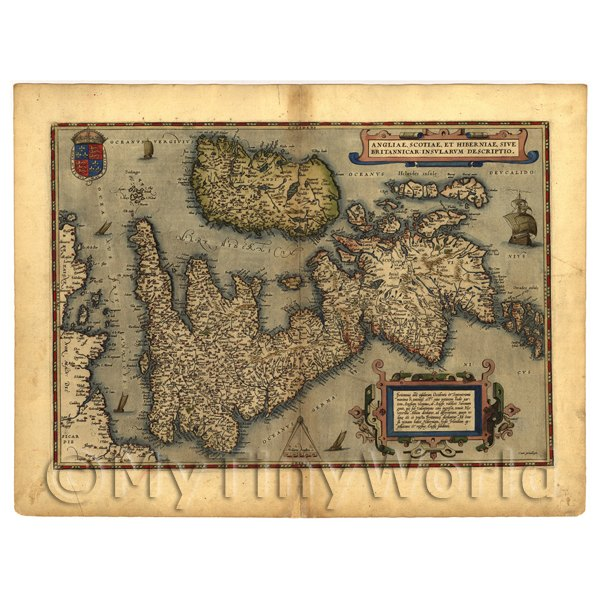 1/12 Scale Dolls House Miniatures  | Dolls House Miniature Old Map Great Britain From The Late 1500s