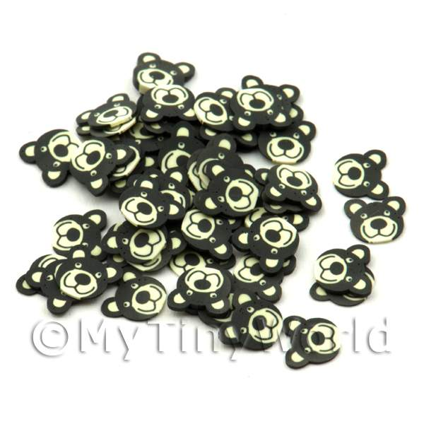 Dolls House Miniature  | 50 Black Bear Cane Slices - Nail Art (ENS12)