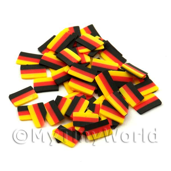 Dolls House Miniature  | 50 German Flag Cane Slices - Nail Art (ENS31)