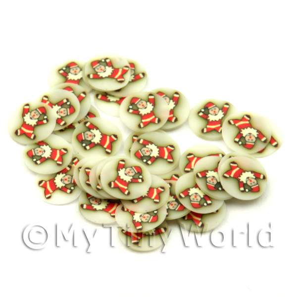 50 Leaping Christmas Clown Cane Slices - Nail Art (ENS34)