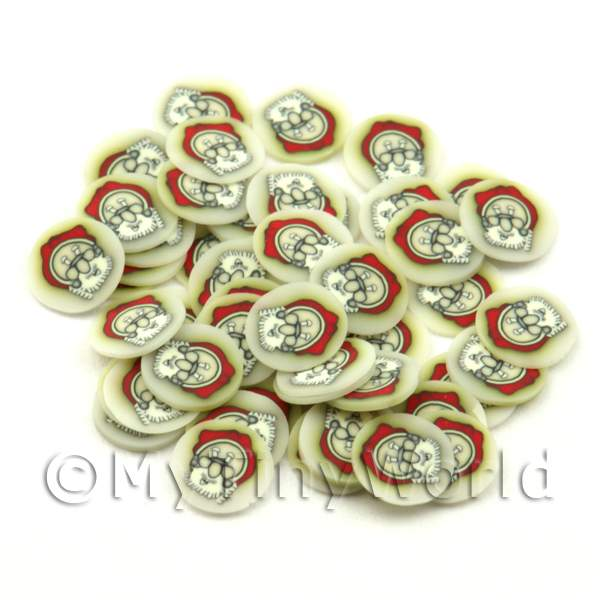 50 Father Christmas Head Cane Slices - Nail Art (ENS39)