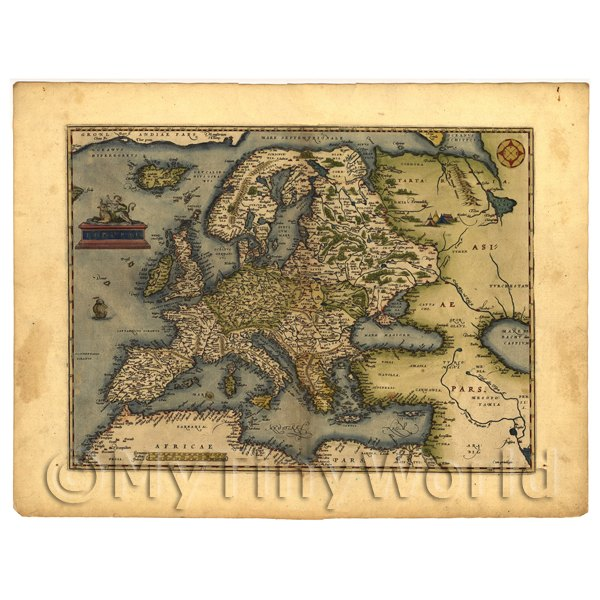 1/12 Scale Dolls House Miniatures  | Dolls House Miniature Old Map Of Europe From The Late 1500s
