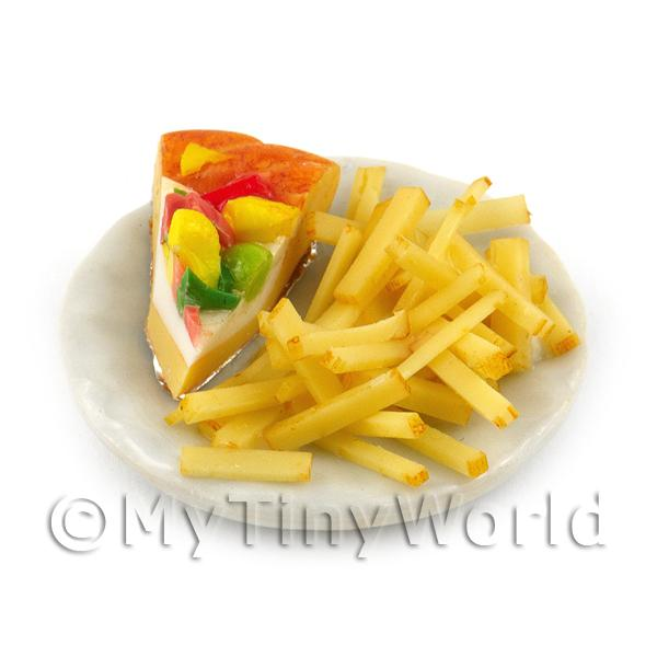 Dolls House Miniature Large Portion of Pizza and Chips