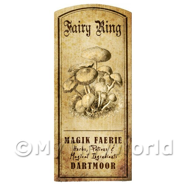 Dolls House Miniature Apothecary Fairy Ring Fungi Label