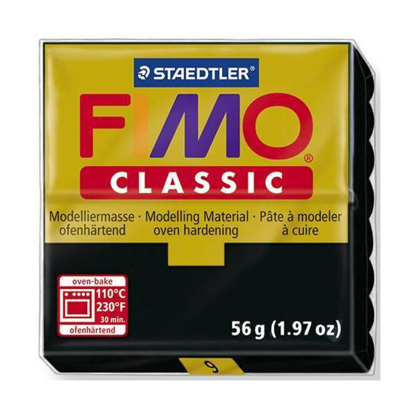 Dolls House Miniature  | FIMO Classic Basic Colours 56g Black 9