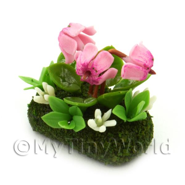 Dolls House Miniature Flower Bed Cyclamen