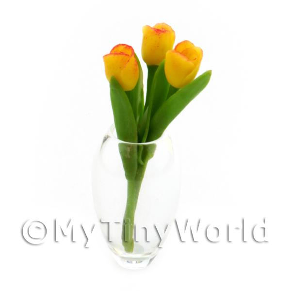 Dolls House Miniature - Bunch of 3 Handmade Dolls House Miniature Yellow Tulips