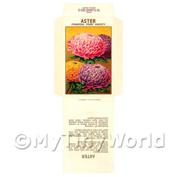 1/12 Scale Dolls House Miniatures  | Peony Aster Dolls House Miniature Seed Packet