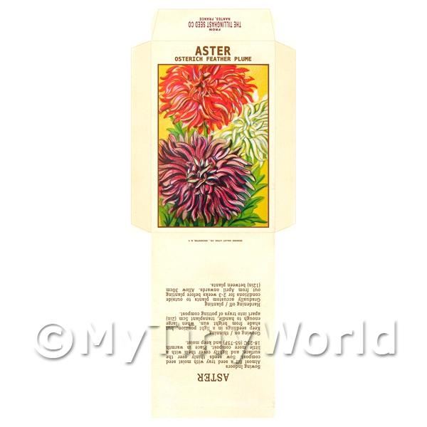 1/12 Scale Dolls House Miniatures  | Ostrich Aster Dolls House Miniature Seed Packet