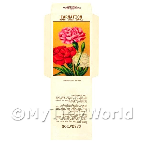 Dolls House Miniatures  | Mixed Carnation Dolls House Miniature Seed Packet