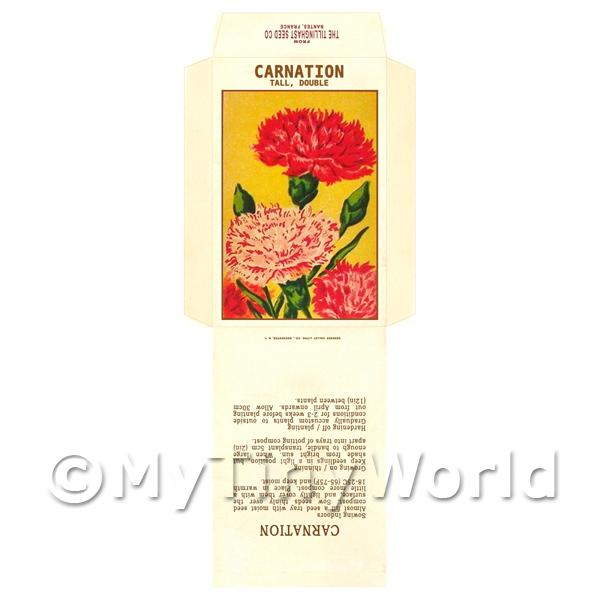 Dolls House Miniatures  | Tall Carnation Dolls House Miniature Seed Packet