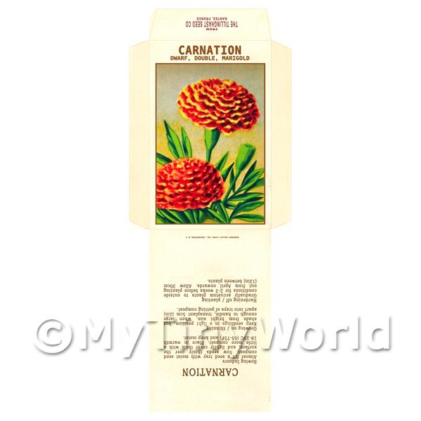 1/12 Scale Dolls House Miniatures  | Marigold Carnation Dolls House Miniature Seed Packet