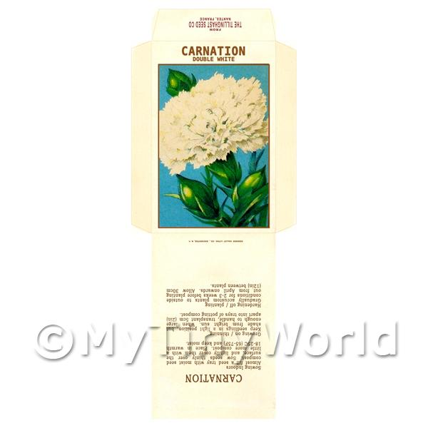 White Carnation Dolls House Miniature Seed Packet