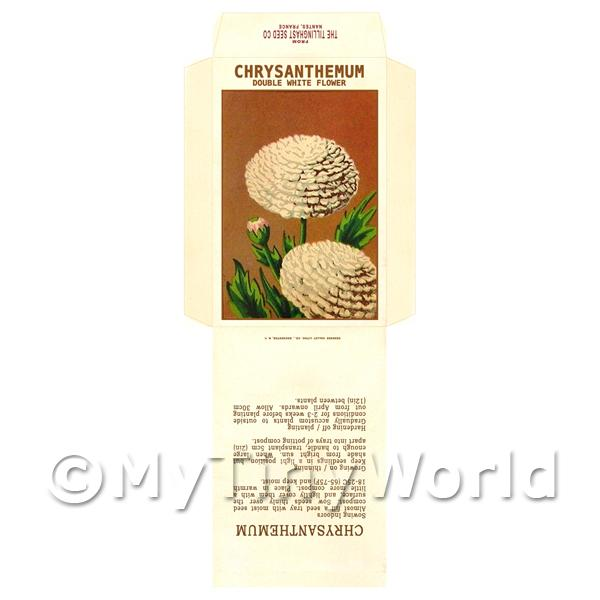 Double White Chrysanthemum Dolls House Miniature Seed Packet