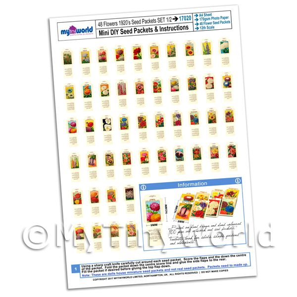 Dolls House Miniature  | Dolls House Miniature Flower Seed Packet Set 1 A4 Value Sheet