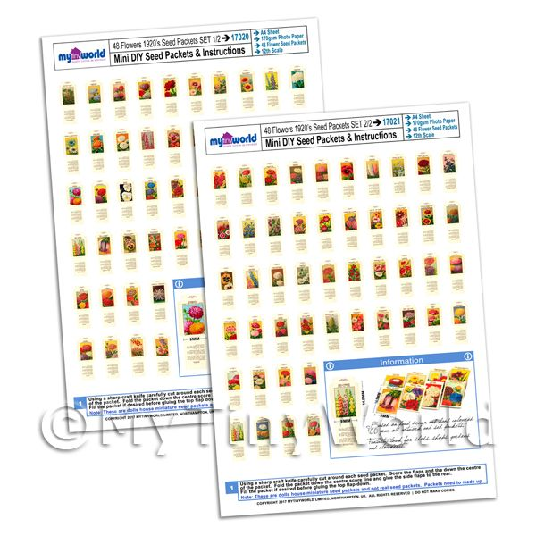 Dolls House Miniature  | 96 Dolls House Flower Seed Packets 2x A4 Value Sheets Complete Set