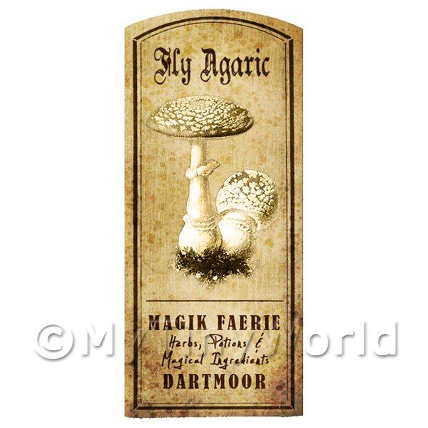 Dolls House Miniature Apothecary Fly Agaric Fungi Label