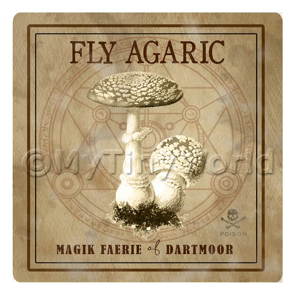 Dolls House Miniature Apothecary Fly Agaric Fungi Sepia Box Label