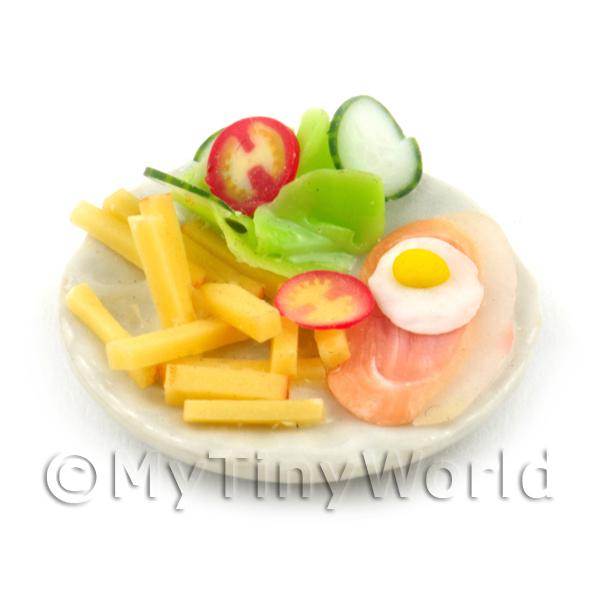 Dolls House Miniature Gammon, Egg and Chips