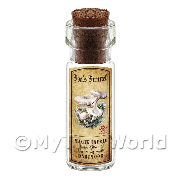 Dolls House Miniature  | Dolls House Apothecary Fools Funnel Fungi Bottle And Colour Label