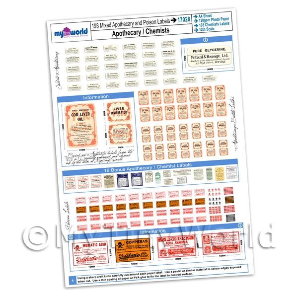 Dolls House Miniatures  | Dolls House Full Set of 193 Apothecary / Chemists Labels A4 Value Sheet