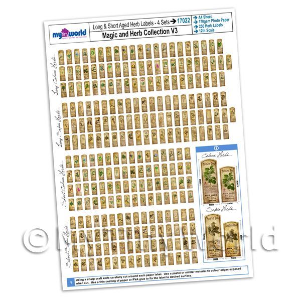 Dolls House Full Set of 256 Long And Short Herb Label A4 Value Sheet