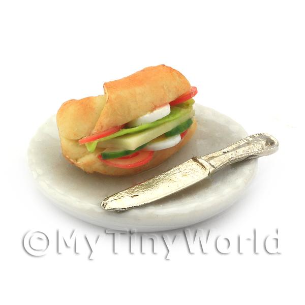 Dolls House Miniature Filled Croissant With A Plate and Knife