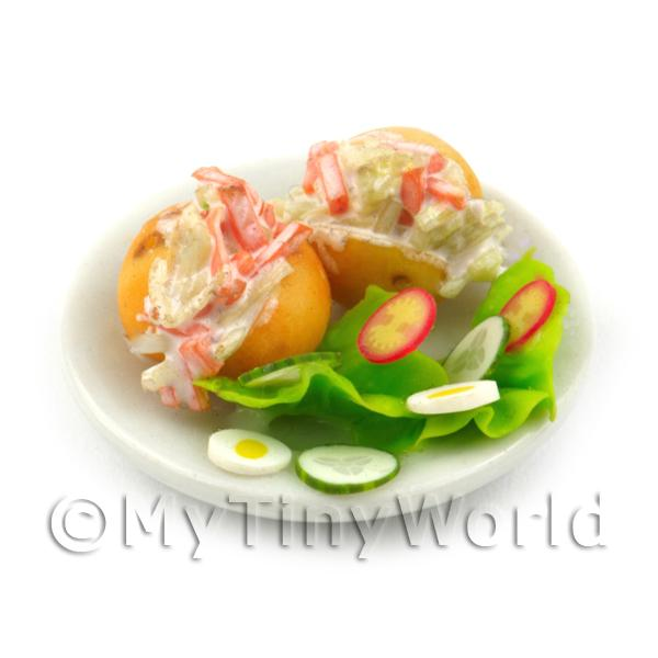 Dolls House Miniature Jacket Potatoes with Coleslaw