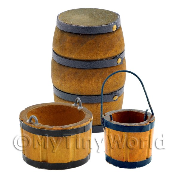 Dolls House Old Style Brown Wood Barrel, Bucket And Planter Set