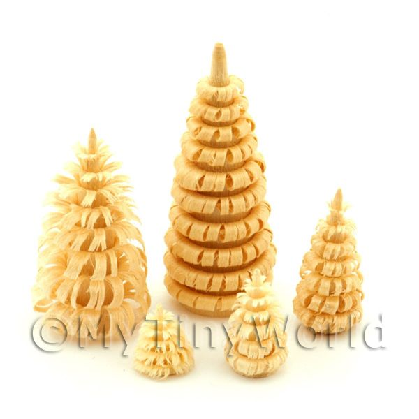 Dolls House Miniature Set of 5 Natural Trees