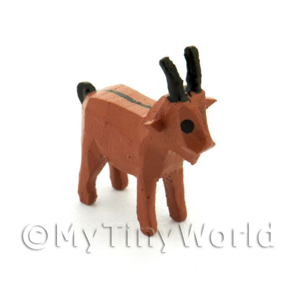 German Dolls House Miniature Small Standing Brown Goat