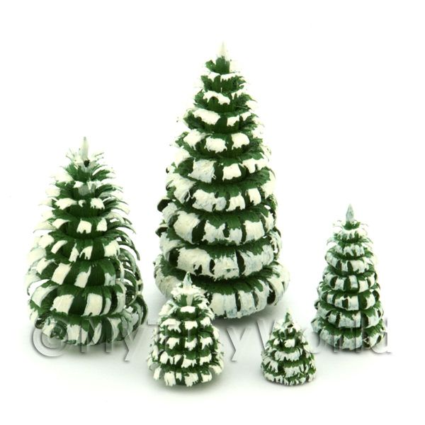 Dolls House Miniature Set of 5 Snowy Trees