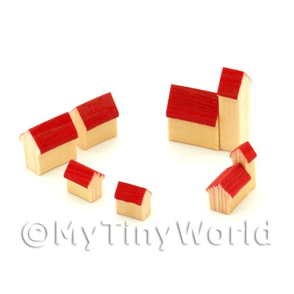 Dolls House Miniature Set of 6 Wood Buildings