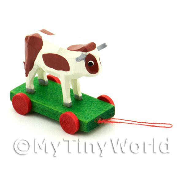 Dolls House Miniature Large German Pull-Along Brown Cow