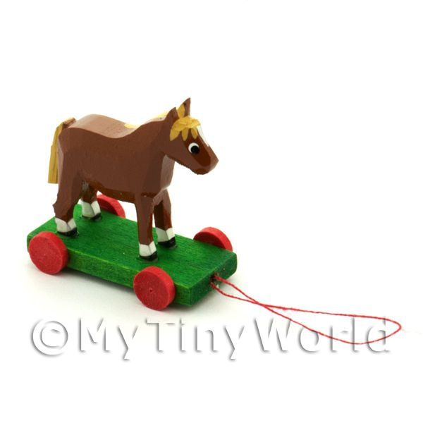 Dolls House Miniature Large German Pull-Along Horse