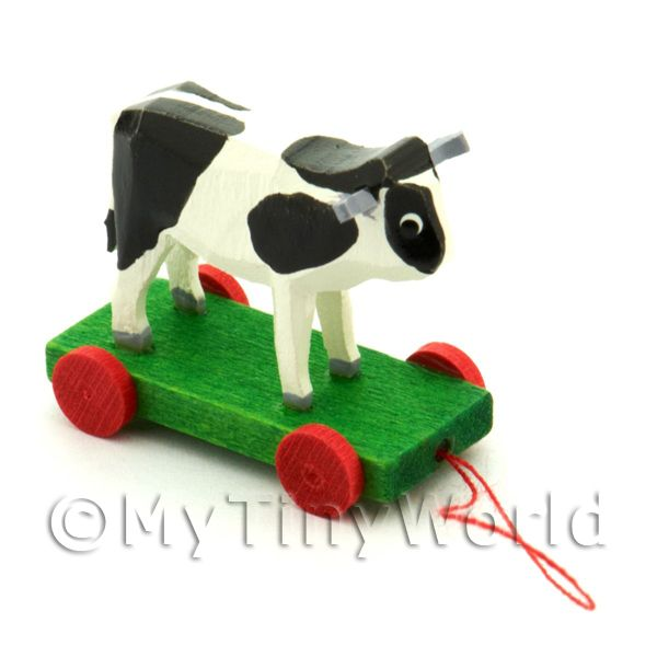 Dolls House Miniature Large German Pull-Along Black Cow