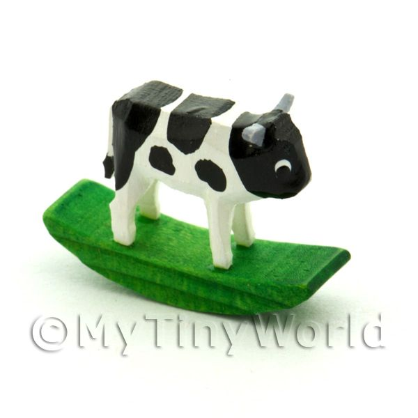 German Crafted Dolls House 20mm Rocking Black Cow
