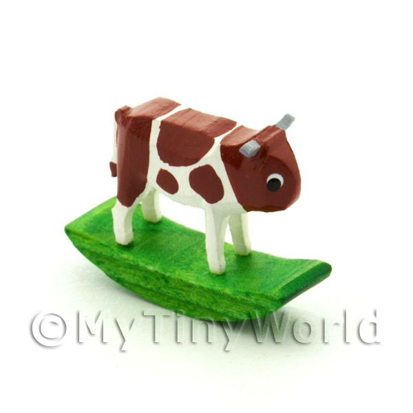 German Crafted Dolls House 20mm Rocking Brown Cow