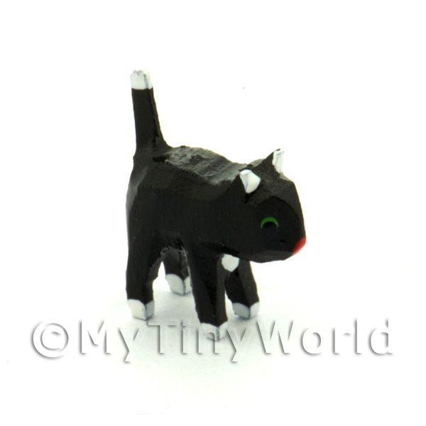 German Dolls House Miniature Small Standing Black Cat