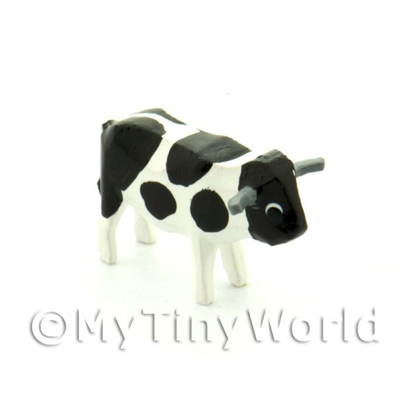 1/12 Scale Dolls House Miniatures  | German Dolls House Miniature Small Standing Black Cow