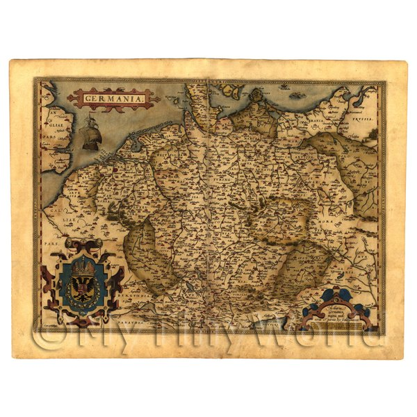 1/12 Scale Dolls House Miniatures  | Dolls House Miniature Old Map Of Germany From The Late 1500s