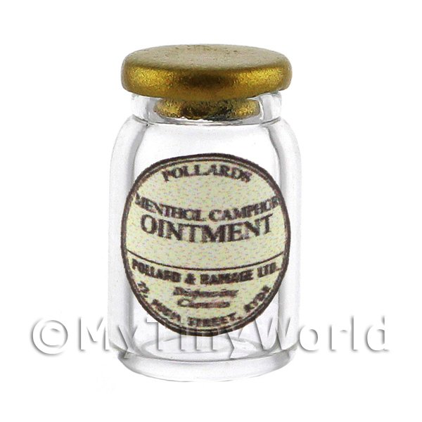 Miniature Camphor Ointment Glass Apothecary Ointment Jar